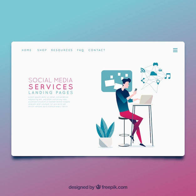 landing page template with social media concept vector free download