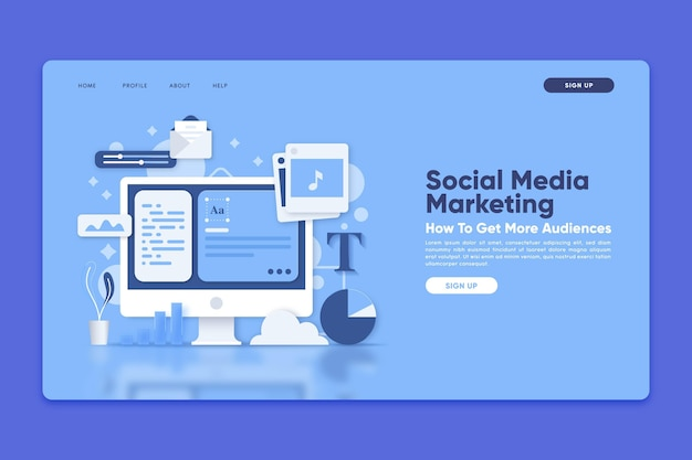 Landing page template with social media marketing Free Vector