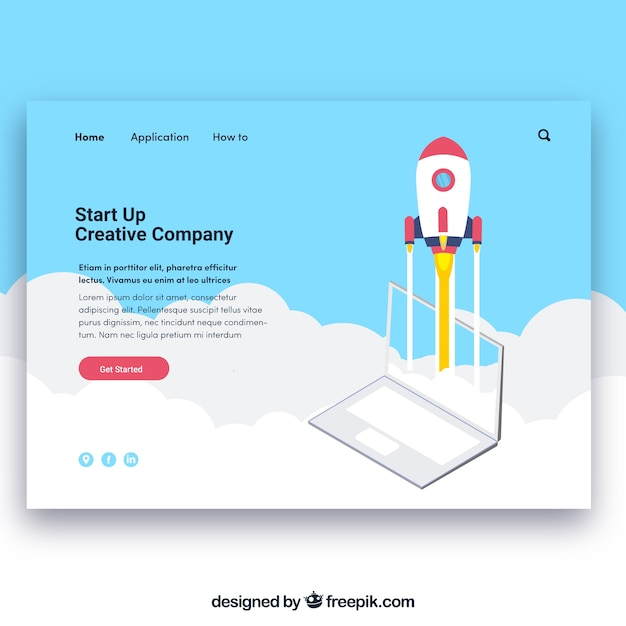 Landing page template with start up concept Free Vector