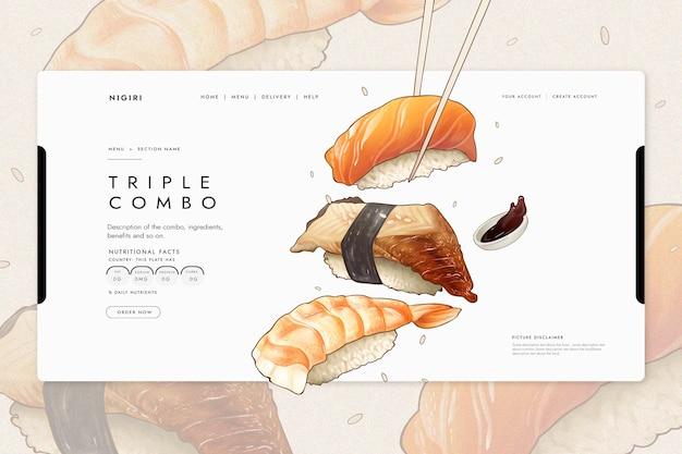레스토랑 용 스시가 포함 된 방문 페이지 템플릿 무료 벡터