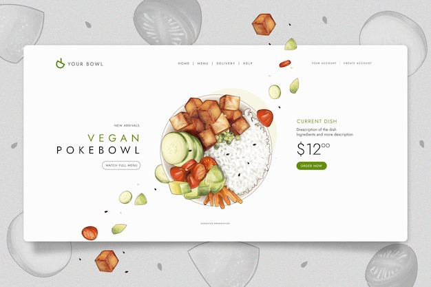 Landing page template with sushi for restaurant Free Vector