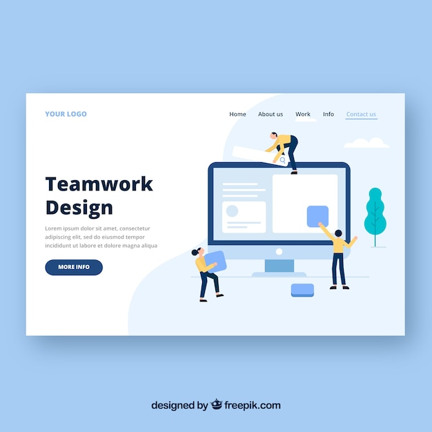 Landing page template with teamwork concept Free Vector