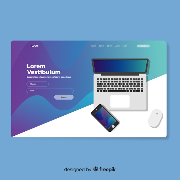 Landing page template with technology device Free Vector