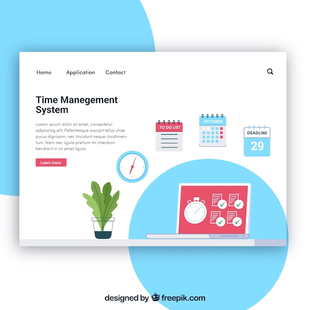 landing page template with time management concept vector free
