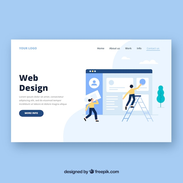 Landing page template with web design concept Free Vector