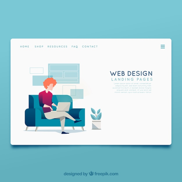 landing page template with web design concept vector free download