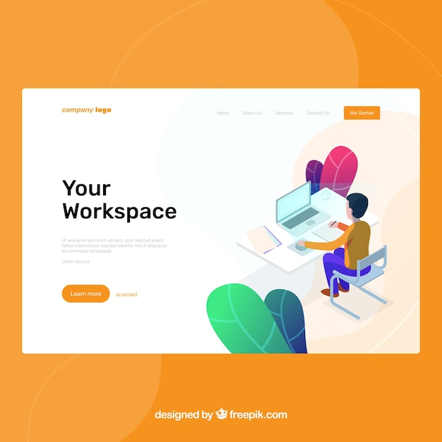 Landing page template with workspace concept  Free Vector