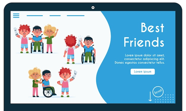 Landing page template withdisabled kids is best friends. girl carries boy in wheelchair, guy with prosthetic arm give five Premium Vector