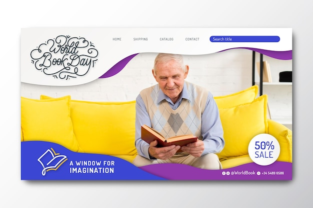 Landing page template for world book day celebration Free Vector