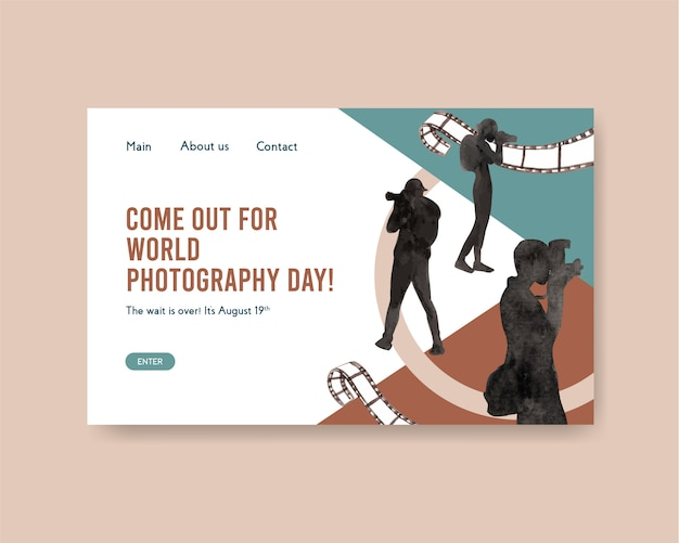 Landing page template for world photography day Free Vector