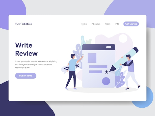 Landing page template of write review illustration concept Premium Vector