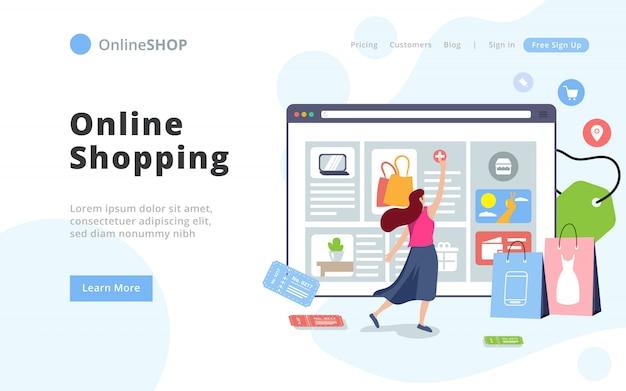 Современный стиль интернет-магазин landing page template. Premium векторы