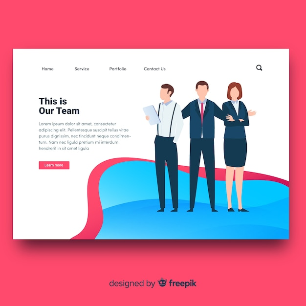 Landing page template Free Vector