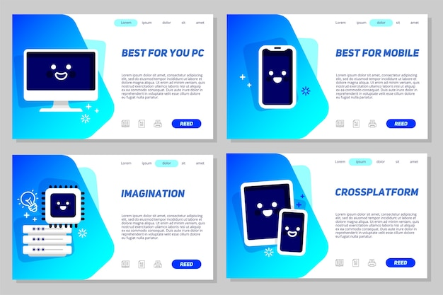 Landing page template Premium Vector