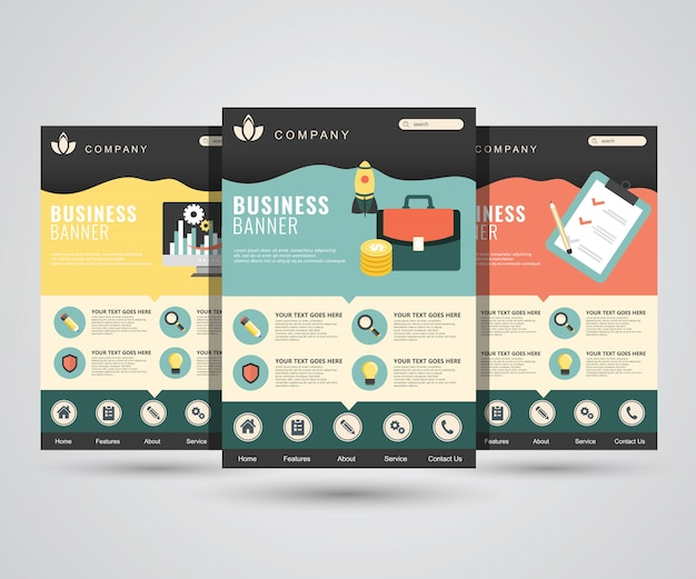 Landing page templates for digital marketing, start up, planning, analysis Premium Vector