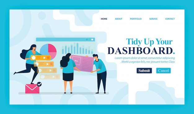 Landing page of tidy up your dashboard Premium Vector