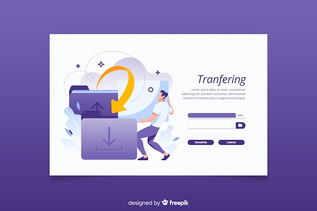 Landing page transfer files concept Free Vector