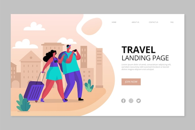 Landing page travel template Free Vector