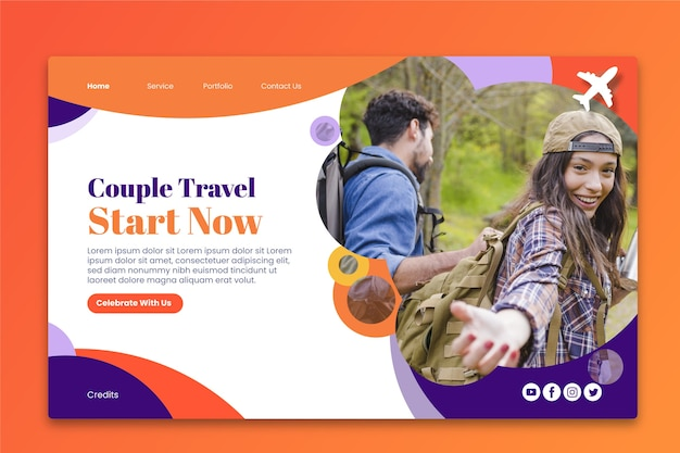 Landing page travel with image Free Vector