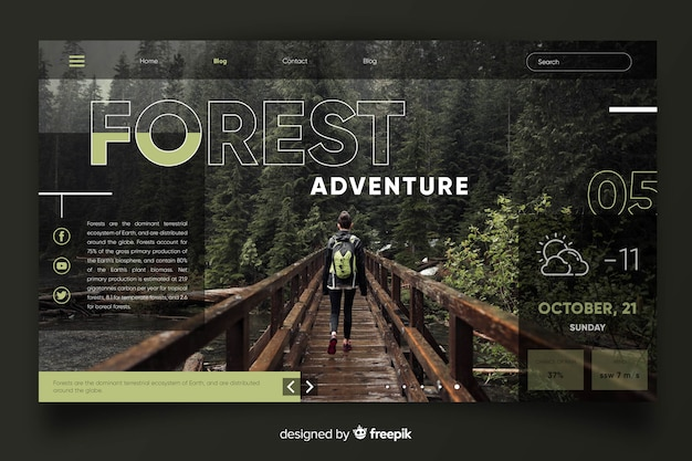 Landing page travel with photo Free Vector