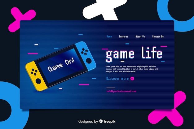 Landing page for video games memphis style Free Vector
