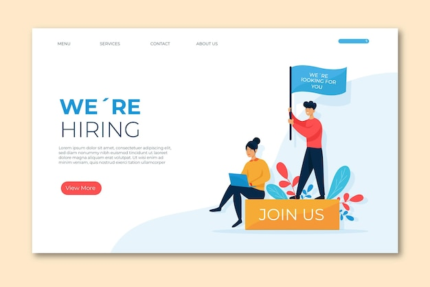 Landing page we are hiring template Free Vector