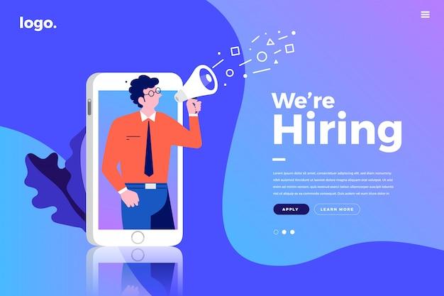 Landing page. we are hiring Premium Vector