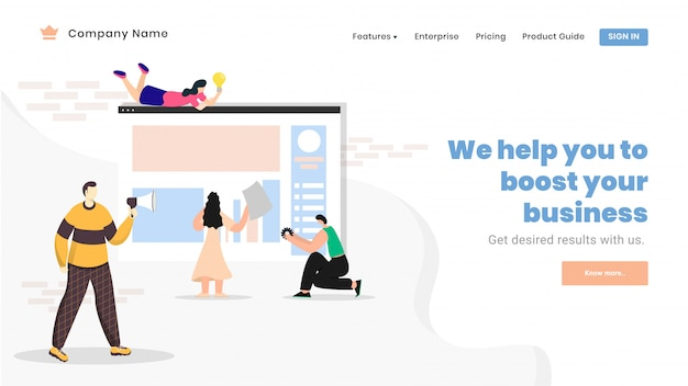 Landing page or web banner design with business people working together on website Premium Vector