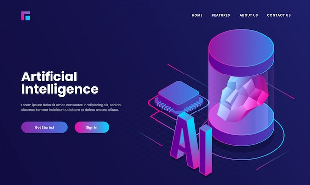 Landing page or web poster design with 3d text ai, processor chip and human robotic face for artificial intelligence (ai) concept. Premium Vector