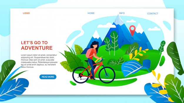 Landing page web template for adventure on mountain bike. cartoon woman tourist riding bicycle. Premium Vector