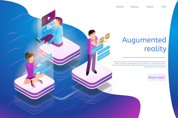 Landing page web template for augmented reality everyday life Premium Vector