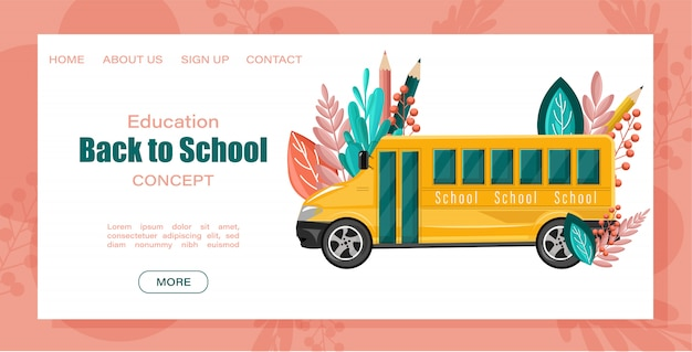 Landing page web template. back to school bus. Premium Vector