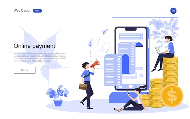 Landing page web template business concept for online banking, financial transaction. Premium Vector