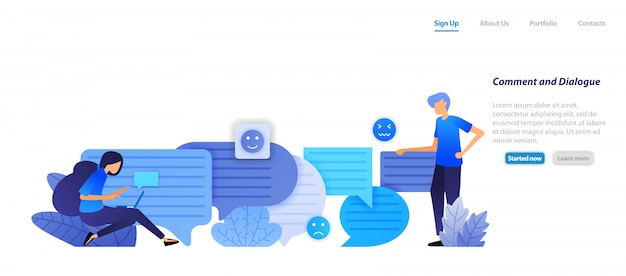 Landing page web template. comment box and dialog. people chat each other with bubble chat emoticons for speech and communication. Premium Vector