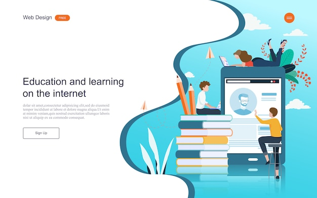 Landing page web template. concept of education for online learning, training and courses. Premium Vector
