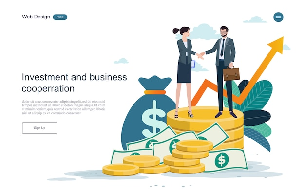 Landing page web template. concept for financial and investment.return on investment. Premium Vector