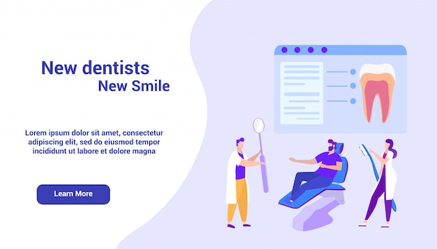 Landing page web template for dentists on monitor. online course. distance learning. e-learning Premium Vector