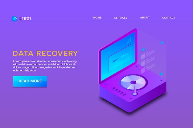 Landing page or web template design. data recovery Premium Vector