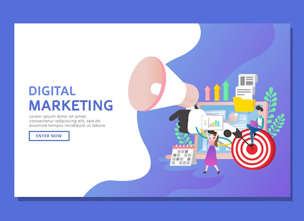 Landing page or web template. digital marketing with two people character and elements Premium Vector