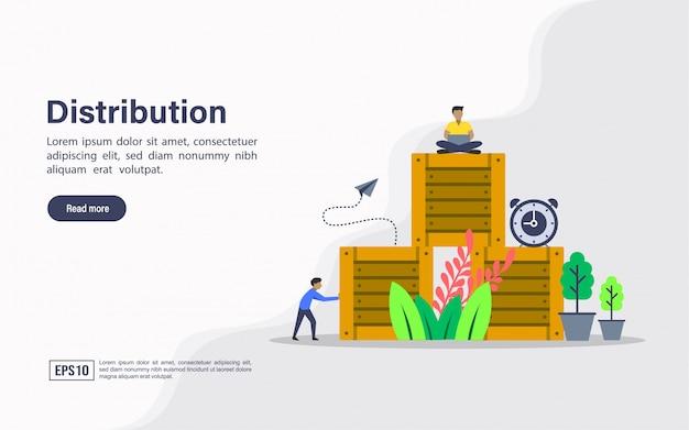 Landing page web template of distribution Premium Vector
