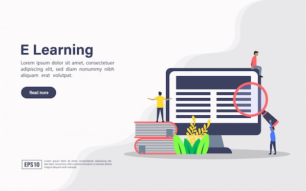 Landing page web template of e learning Premium Vector