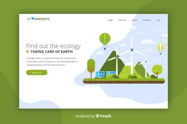 Landing page web template for ecological company Free Vector