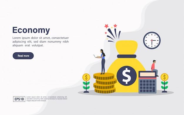 Landing page web template of economy Premium Vector