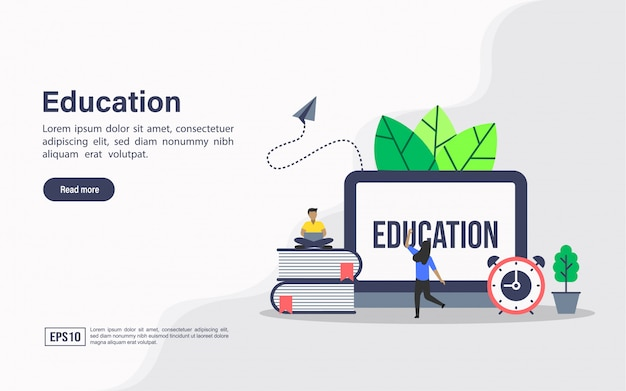 Landing page web template of education Premium Vector