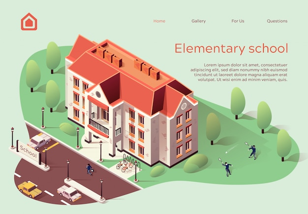 Landing page web template for elementary school cartoon. Premium Vector