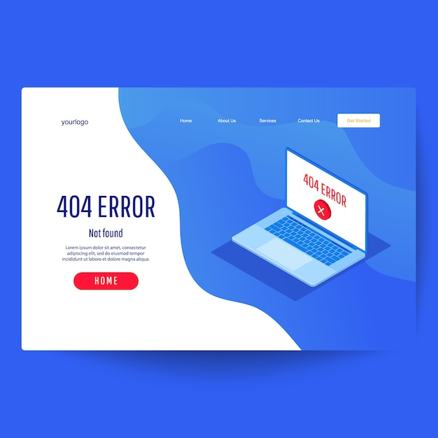 Landing page web template. error 404 page not found concept Premium Vector