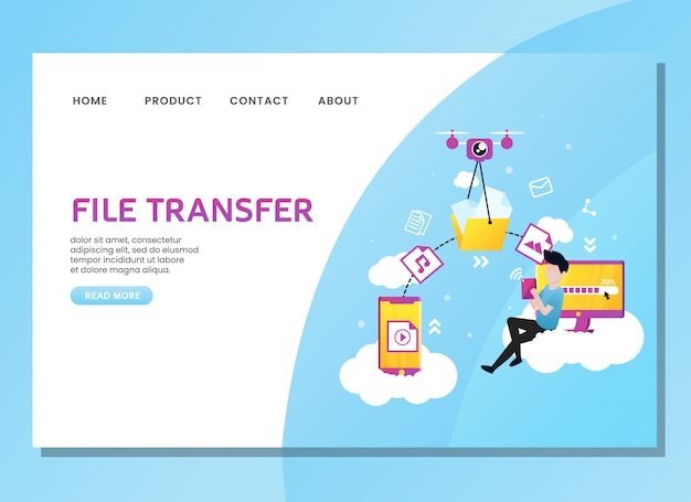 Landing page or web template. file transfer with man sit on the cloud Premium Vector