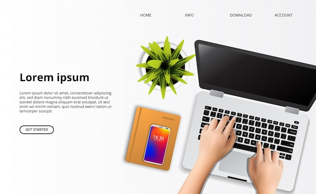 Landing page web template. hand typing on the laptop with plant and notebook top view on the desk Premium Vector