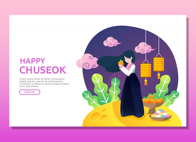 Landing page or web template. happy chuseok illustration with woman Premium Vector