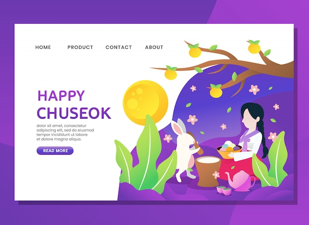Landing page or web template. happy chuseok with woman sit with rabbit Premium Vector